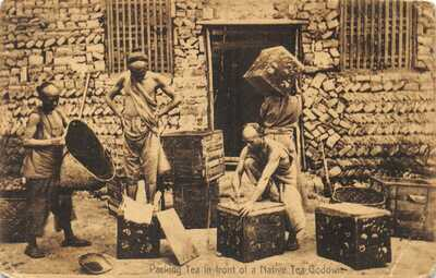 CHINA ETHNIC CHINESE MEN PACKING TEA IN FRONT OF TEA GODOWN USED 1908 CARD