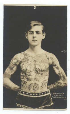 TATTOO RPPC - Stephen Wagner TATTOOED by Brother CHARLIE WAGNER - Rare ca1910