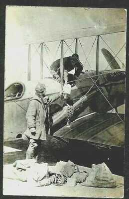 Military Biplane Picking up the Mail at Mexican Boarder, 1918 RPPC Postcard