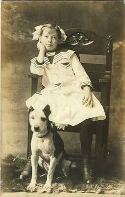 Pretty Sailor Girl & Pit Bull Terrier~Vintage Dog RPPC~Real Photo Card