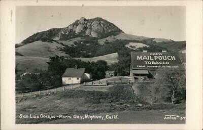 """RPPC San Luis Obispo-Morro Bay Highway """"Mail Pouch Tobacco"""" Ad,CA California"""