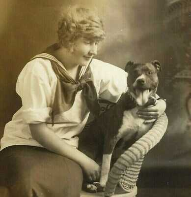 Vintage Dog rppc~Portland OR Woman & Pit Bull or Staffie Terrier~Real Photo Card