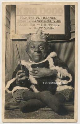 rppc KING DODO Turtle Boy CIRCUS SIDESHOW FREAK FIJI Midget real Photo Postcard