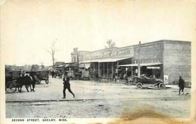 Postcard Second Street Scene, Shelby, Mississippi - circa 1920