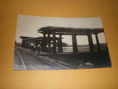 RPPC Pistakee Lake County Illinois C.M.St. P. Railroad Station ML Photo Postcard