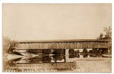 OH Ohio Troy Broad Fork Covered Bridge Scene Miami County Postcard RPPC