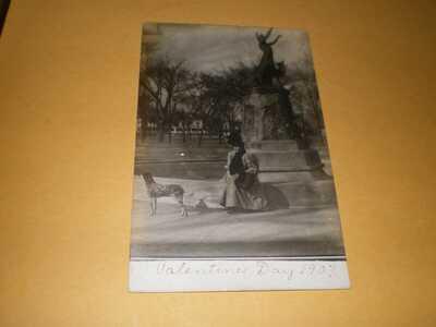 RPPC University of Illinois Westside Park Fountain Dog Champaign County Postcard