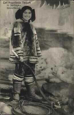 Carl Hagenbecks Tierpark Eskimo Woman w/ Whip Trained Polar Bears Postcard