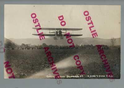 Salamanca NEW YORK RPPC 1911 VIN FIZ FLYER Advertising SODA POP Airplane RODGERS