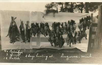 MICH RPPC Two Days Hunting at Luzerne Michigan Real Photo Postcard