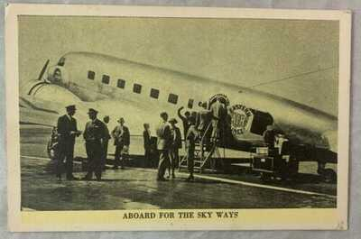 Antique Postcard Eastern Airlines Douglas Aircraft / Aboard For the Sky Ways