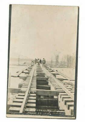 ANTIQUE RPPC POSTCARD 1913 Rosedale Mississippi Crevasse TRAIN TRACKS