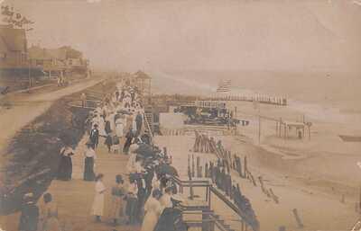 REHOBOTH, DE, BOARDWALK, BATH HOUSE, BEACH, PEOPLE, REAL PHOTO PC used 1906