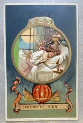 VINTAGE 1900s HALLOWEEN POSTCARD  Sleeping Girl 3 Faeries Jack O Lantern Broom