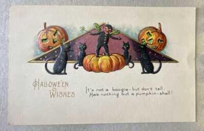 VINTAGE 1900s HALLOWEEN POSTCARD  Grinning Jack O Lanterns 4 Black Cats Faerie
