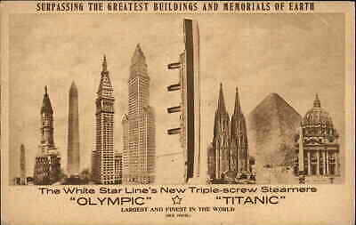 Steamships SS Olympic & Titanic Compared Tall Buildings PRE-SINKING Postcard