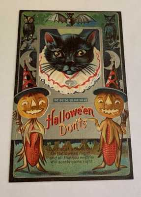 Vintage Embossed Halloween Postcard - Black Cat On JOL - Halloween Don'ts