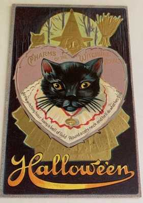 Vintage Embossed Halloween Postcard - Black Cat  - Witch Gold Embossing