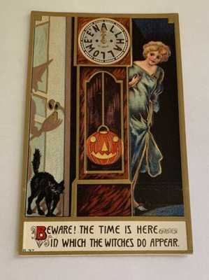 Vintage Embossed Halloween Postcard - Beware Witches - Girl By Clock # 837
