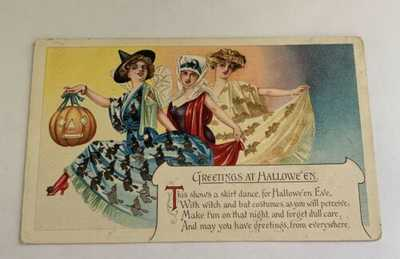 Vintage Halloween Postcard  - Pretty Women - Dance At Halloween - Colorful Skirt