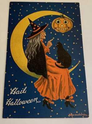Vintage Halloween Postcard  - Hail Halloween Witch - Bernhardt Wall