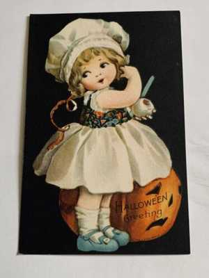 Vintage Wolf Halloween Postcard Clapsaddle - Girl Throws Peel - Black Background
