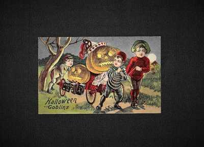 Vintage HALLOWEEN Postcard Series 6500-6511, 6507  Halloween Goblins