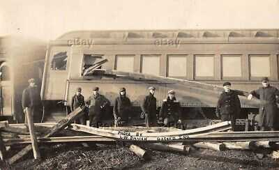 RPPC REAL PHOTO POSTCARD OXFORD INDIANA TRAIN WRECK CRASH 1907 FOWLER ACCIDENT