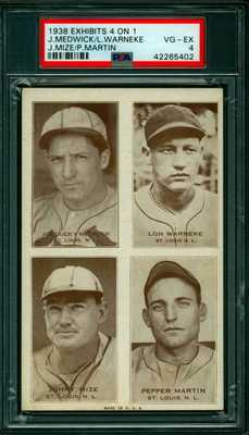 Rare 1938 Postcard Like Baseball 4 ON 1  Exhibit Card St Louis Cardinals  PSA 4