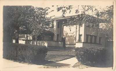 RPPC PHOTO POSTCARD SUTTON RESIDENCE McCOOK NEB FRANK LLOYD WRIGHT PRAIRIE HOME