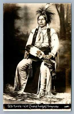 AMERICAN INDIAN COMANCHE AT-TOCK-NIE LONE LODGE ANTIQUE REAL PHOTO POSTCARD RPPC