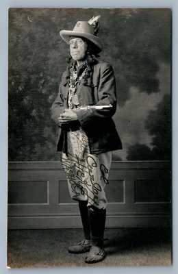 signed! AMERICAN INDIAN CUSTER'S SCOUT WASHOSA ANTIQUE REAL PHOTO POSTCARD RPPC
