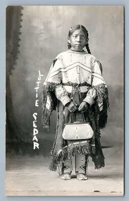 AMERICAN INDIAN GIRL LOTTIE CEDAR ANTIQUE REAL PHOTO POSTCARD RPPC CHADRON NE