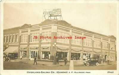 KS, Salina, Kansas, RPPC, Overland-Salina Auto Dealership, Willys Knight Cars