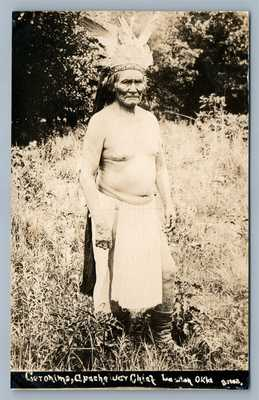 AMERICAN LAST APACHE INDIAN CHIEF GERONIMO OKLA ANTIQUE REAL PHOTO POSTCARD RPPC