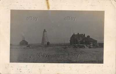 RPPC PHOTO POSTCARD NORTH MANITOU ISLAND LIGHTHOUSE MICHIGAN 1910 ERA STATION MI