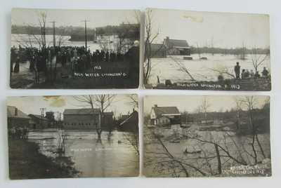 4 1913 Flood Covington Ohio Real Photo Postcards Wetsells Livery Tobias Mill