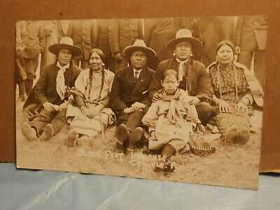Antique RPPC  Postcard Blackfeet Black Feet Indian Carlisle PA  Men Women Child