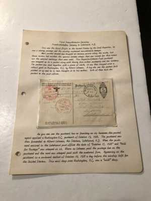 1928 First Trans-Atlantic Mail Drop Graf Zeppelin PC Lakehurst NJ Washington DC