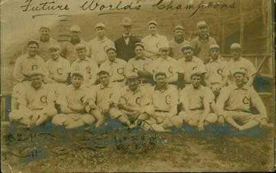 1906 RPPC Baseball Team Postcard Chicago White Sox Hitless Wonders & W S Champs