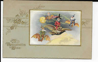 1914 HALLOWEEN Postcard WITCH RIDING OWL w/ 3 GOBLINS ON BATS Germany