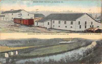 Burgess Altavista Virginia Factory Roanoke Valley Railroad Postcard AA3472