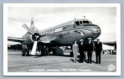 PANAMA TOCUMEN AIRPORT VINTAGE REAL PHOTO POSTCARD RPPC airplane