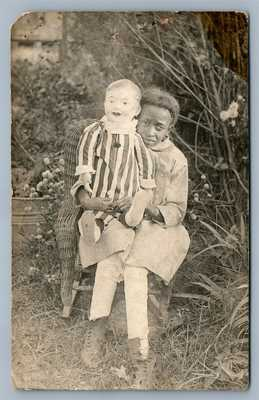 BLACK AMERICANA GIRL w/ LARGE DOLL ANTIQUE REAL PHOTO POSTCARD RPPC