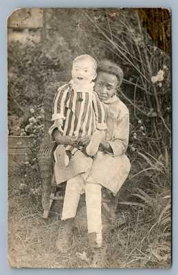 BLACK AMERICANA GIRL w/ LARGE DOLL ANTIQUE REAL PHOTO POSTCARD RPPC