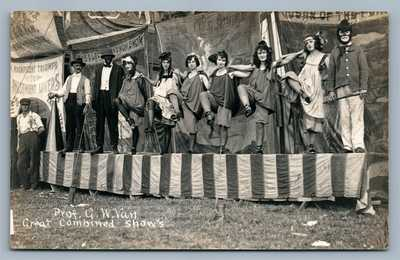 PROF G.W.VAN DANCERS SHOW ANTIQUE REAL PHOTO POSTCARD RPPC LOCKHAVEN PA SIDESHOW