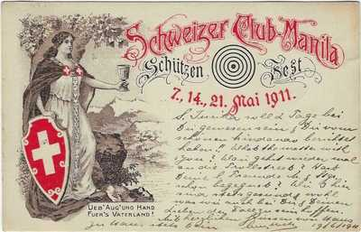 Philippines 1911 Swiss Club Shooting Festival Manila card used