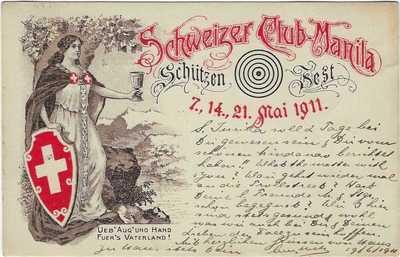 Philippines 1911 Swiss Club Shooting Festival Manila card used