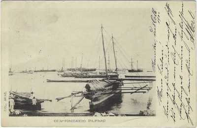 Philippines 1904 postcard Cebu-Fondeadero card used to Switzerland