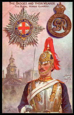 "ROYAL HORSE GUARDS. Tuck ""BADGE & WEARER"" series 3204. HARRY PAYNE art 1918"